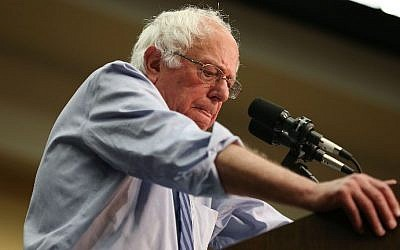 Democratic presidential candidate Bernie Sanders speaks during a campaign rally at the Century Center on May 1, 2016 in South Bend, Indiana. (Joe Raedle/Getty Images/AFP)