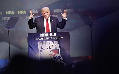 Republican presidential candidate Donald Trump speaks at the National Rifle Association's NRA-ILA Leadership Forum during the NRA Convention at the Kentucky Exposition Center in Louisville, Kentucky on May 20, 2016. (Scott Olson/Getty Images/AFP)