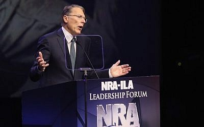 Wayne LaPierre, Executive Vice President of the National Rifle Association, speaks at the National Rifle Association's NRA-ILA Leadership Forum during the NRA Convention at the Kentucky Exposition Center on May 20, 2016 in Louisville, Kentucky. (Scott Olson/Getty Images/AFP)