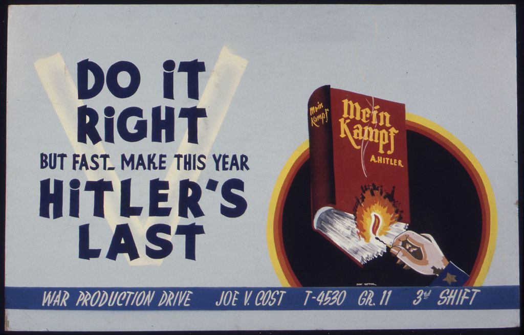 Anti-Nazi poster from 1942-43 shows 'Mein Kampf' being set on fire (Wikimedia Commons)