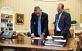 Deputy National Security Adviser Ben Rhodes, right, with Barack Obama in the Oval Office on September 10, 2014. (White House/Pete Souza)