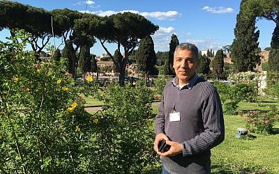 Salvatore Ianni has been giving tours of the Rome public Rose Garden for 23 years. Each spring he greets an influx of visitors between the months of April and June (Rossella Tercatin/Times of Israel)