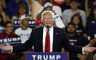 In this May 24, 2016 file photo, Republican presidential candidate Donald Trump speaks at a campaign event in Albuquerque, N.M. (AP Photo/Brennan Linsley, File)