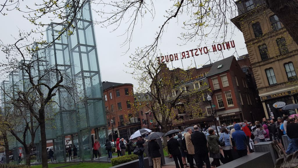 Yom HaShoah Commemoration in Boston on May 1, 2016, at the New England Holocaust Memorial along the Freedom Trail (Matt Lebovic/The Times of Israel)