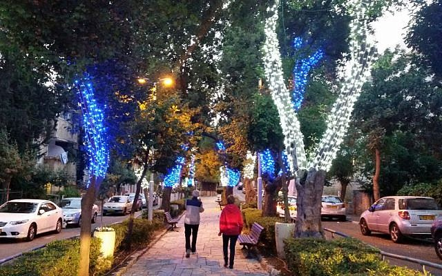 Trees in Jerusalem are decked out in blue and white lights in honor of Israel's 68th Independence Day (Jerusalem municipality)