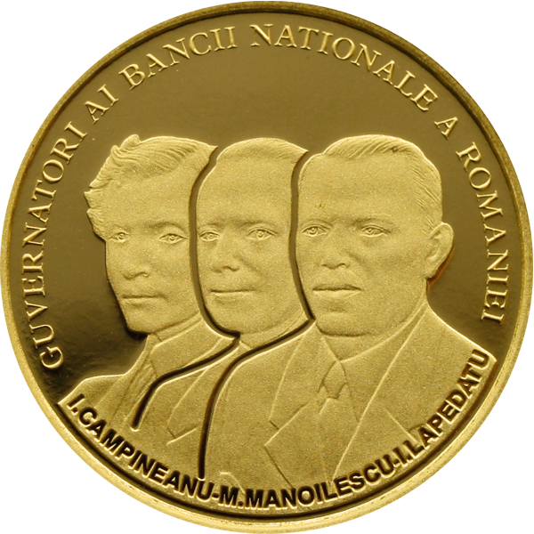A Romanian coin bearing the likenesses of former governors of the National Bank of Romania from left) Ion I. Câmpineanu, Mihail Manoilescu and Ion I. Lapedatu. The coin is one of a series of three in gold, bronze and silver. (Romanian National Bank)