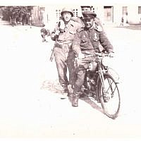 """Two Russian soldiers and a GI of the 104th. Incidentally that's a German motorbike he's riding. Wurzen Germany. April 27, 1945"" (Jules Helfner)"