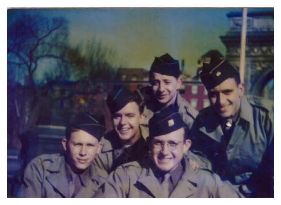 Jules Helfner (bottom right) in New York City's Washington Square Park with friends in 1945 (Jules Helfner)