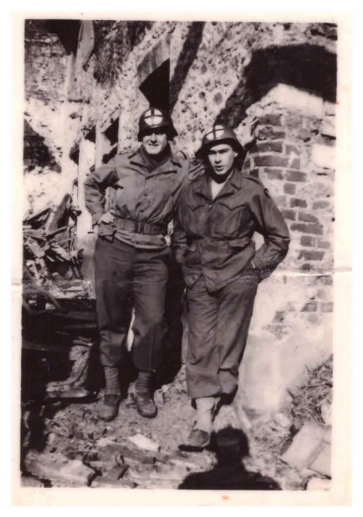 """Weisweiler, Germany. My buddy Broncho Nagorski, Upper Black Eddy, PA. Not for publication."" Undated 1945 (Jules Helfner)"