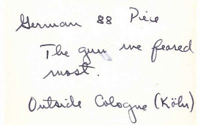Jules Helfner's handwritten note on back of photo of German 88 artillery piece near Cologne, Germany