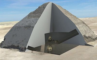 A 3-D cutaway shows the interior of the Bent Pyramid. (Egyptian Ministry of Antiquities, HIP Institute and the Faculty of Engineering at Cairo University)