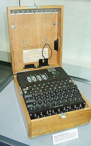 Enigma machine, the more commonly known coding device used by the Germans for sending encrypted messages during WWII. (Toby Oxborrow/Flickr)