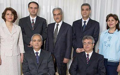 The seven Baha'i leaders arrested by Iranian authorities on May 14, 2008: seated from left, Behrouz Tavakkoli and Saeid Rezaie, and standing, Fariba Kamalabadi, Vahid Tizfahm, Jamaloddin Khanjani, Afif Naeimi, and Mahvash Sabet. (Courtesy Baha'i World News Service)