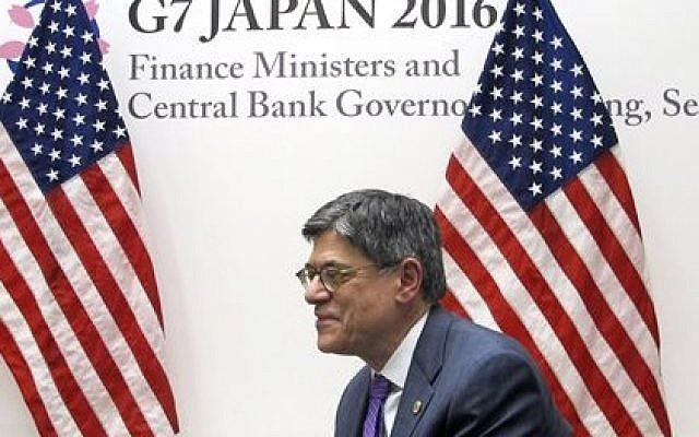 US Treasury Secretary Jacob Lew talks to reporters during a press briefing in Sendai, northern Japan, Friday, May 20, 2016. (AP Photo/Elaine Kurtenbach)