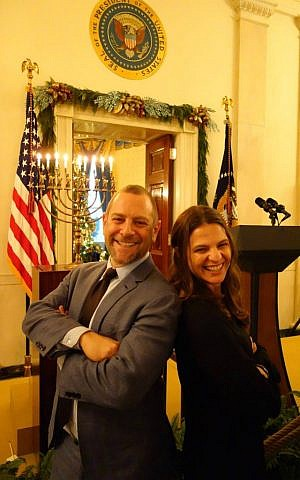 Rabbi Amichai Lau-Lavie with Rabbi Sharon Brous of Los Angeles' IKAR community at the White House Hanukkah party, 2013. (Courtesy)