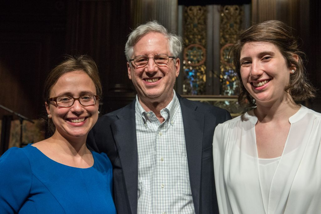Audrey Marcus Berkman, (left) a great great granddaughter of Sholem Aleichem with his great grandson, Ken Kaufman and his daughter, Kara Kaufman. They met in Boston for the first time at the May 16, 2016 tribute concert by A Besere Velt and The Klezmatics (Derek Kouyoumjian/ courtesy Boston Workmen's Circle)