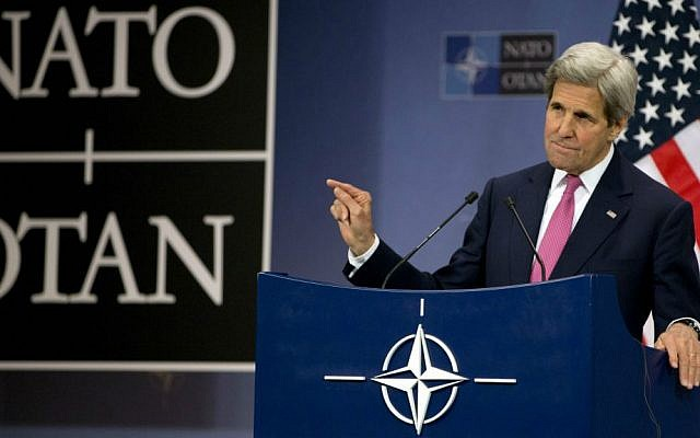 US Secretary of State John Kerry speaks during a media conference at NATO headquarters in Brussels, Belgium, May 19, 2016. (AP/Virginia Mayo)