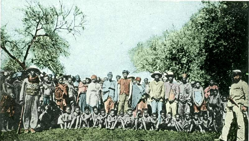 Herero prisoners of war in German SouthWest Africa in 1904. (Bundesarchiv_Bild / Wikipedia)
