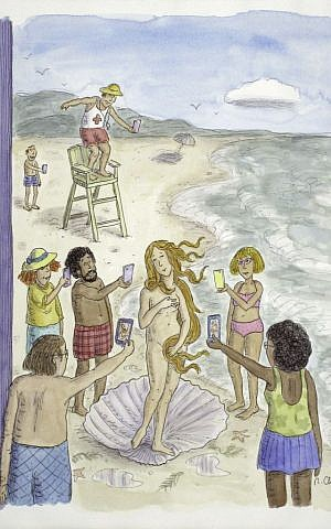 'The Birth of Venus,' 2014 Cover illustration for The New Yorker, August 4, 2014 (courtesy Danese/Corey, New York ©Roz Chast. All rights reserved)