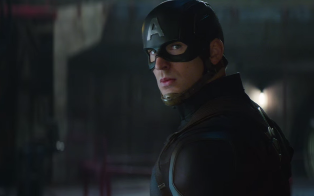Chris Evans playing the title role in the 2016 film Captain America: Civil War (Screenshot from YouTube/JTA)