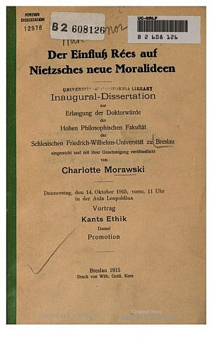 Cover of Charlotte Morawski's thesis from Breslau University, which can be found in libraries all over the world (courtesy)