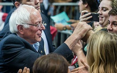 Democratic presidential candidate Bernie Sanders, left, greets supporters after making a speech Friday, May 20. 2016, in Albuquerque, New Mexico. (Roberto E. Rosales/The Albuquerque Journal via AP)