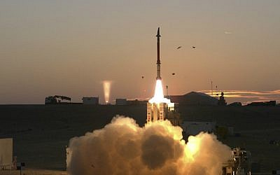 The David's Sling missile defense system undergoes a final round of tests on Dec. 21, 2015 in Israel. (AP Photo courtesy of Israel Ministry of Defense/via JTA)