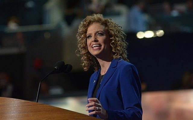 Rep. Debbie Wasserman Schultz, chair of the Democratic National Committee, speaking to delegates of the party's convention in Charlotte, North Carolina, Sept. 6, 2012. (DNC via Flickr via JTA)