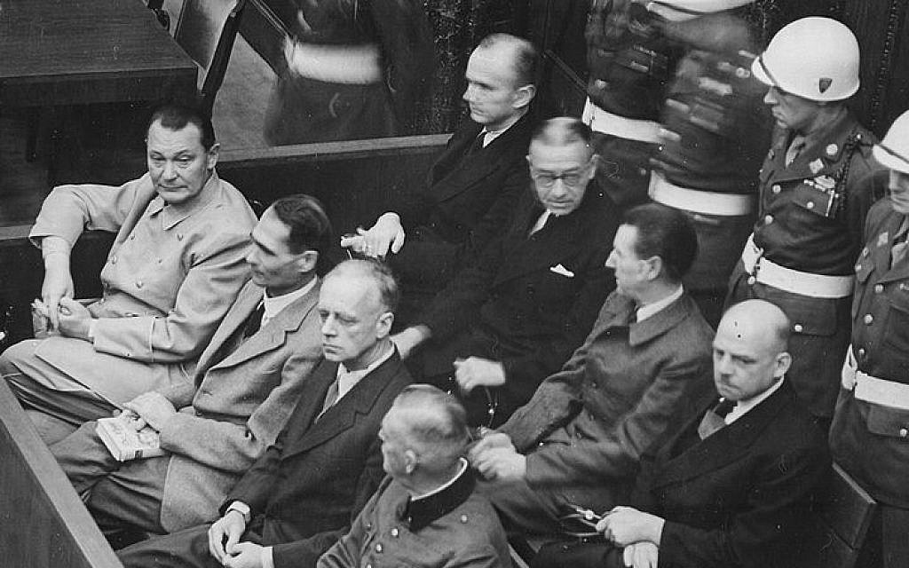 The post-WWII Nuremberg Trials in Germany, during which some of the Third Reich's top war criminals were tried and sentenced by the Allies. Among the Nazis seated in the docket is Hermann Goering (front left), head of Germany's air force and a leading figure in the Reich (Wikimedia Commons)