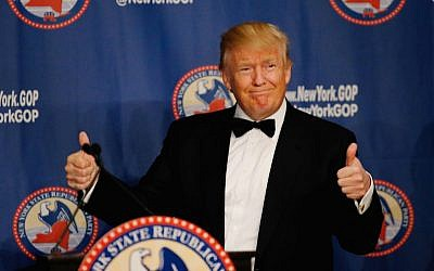 Donald Trump attending the 2016 New York State Republican Gala in New York City, April 14, 2016. (Eduardo Munoz Alvarez/Getty Images via JTA)