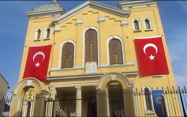 The Grand Synagogue of Edirne in Northwest Turkey following the completion of its restoration in 2015. (Screen capture: YouTube)