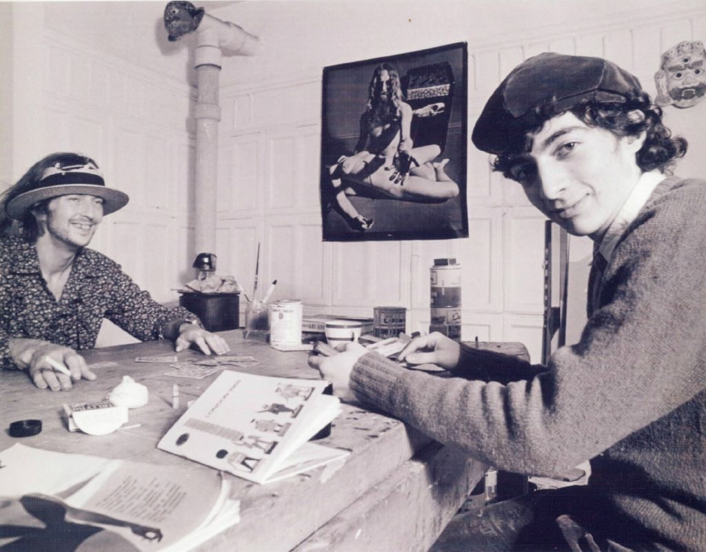 Philippe Mora with friend and artistic partner Eric Clapton in 1968. Mora and Clapton have worked on several films together, most recently 'Three Days in Auschwitz' (courtesy)