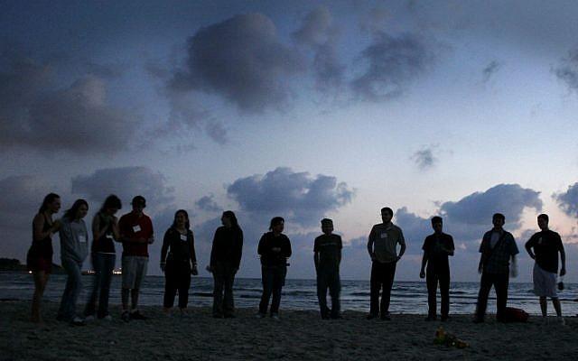 Illustrative: Taglit-Birthright participants in Caesarea. (Photo by Melanie Fidler /Flash90)