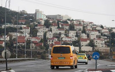 Illustrative: Two Palestinian cars near the Israeli settlement of Efrat in the West Bank on November 24, 2009. (Nati Shohat/Flash90)