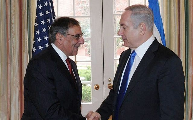 Prime Minister Benjamin Netanyahu, right, meets with the-then US Secretary of Defense Leon Panetta in Washington DC, USA, March 06, 2012. (Amos Ben Gershom/GPO/FLASH90)