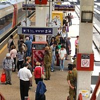 An Israel Railways station in Tel Aviv on April 15, 2013. (Chen Leopold/Flash90)