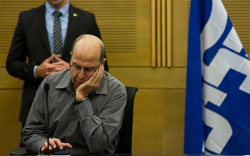Moshe Ya'alon at a Likud party meeting on January 11, 2016. (Miriam Alster/FLASH90)