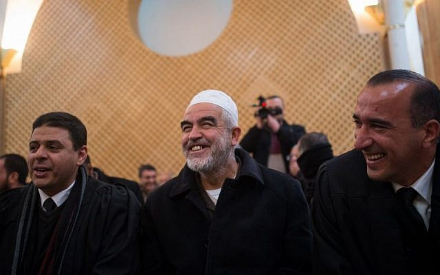 Leader of the banned northern branch of the Islamic Movement in Israel, Sheikh Raed Salah center, in the Supreme Court in Jerusalem January 26, 2016. (Yonatan Sindel/Flash90)
