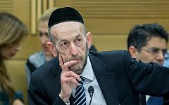 United Torah Judaism MK Uri Maklev in the Knesset on February 16, 2016. (Yonatan Sindel/Flash90)