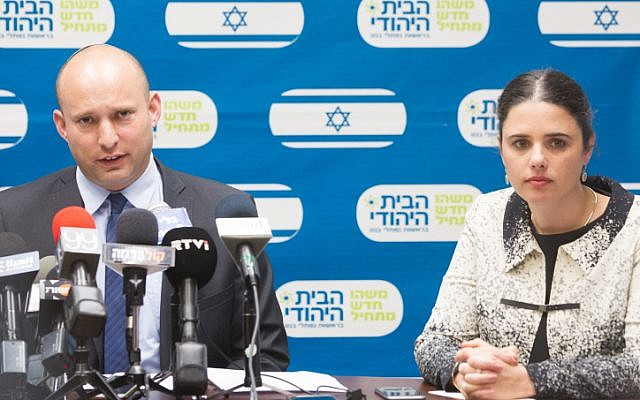 Education Minister Naftali Bennett (L) and Justice Minister Ayelet Shaked (R) at the weekly Jewish Home party meeting at the Knesset in Jerusalem on February 29, 2016. (Miriam Alster/Flash90)