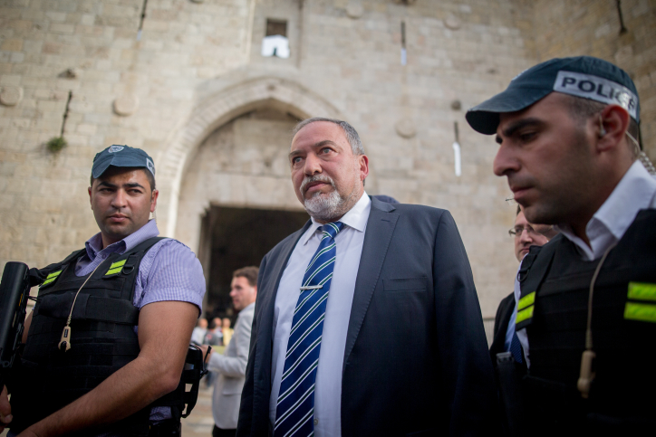 MK Avigdor Liberman visits the Damascus Gate in Jerusalem's Old City, following a recent terror attack, on March 9, 2016. (Yonatan Sindel/Flash90)