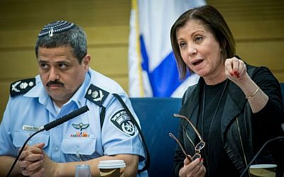 Meretz party leader Zehava Galon participates in a Knesset committee meeting alongside Israel Police Chief Roni Alsheikh on March 29, 2016 (Yonatan Sindel/Flash90)