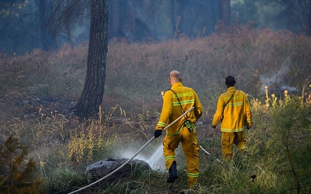 Illustrative photo of firefighters extinguishing a forest fire, April 25, 2016. (Basel Awidat/Flash90)