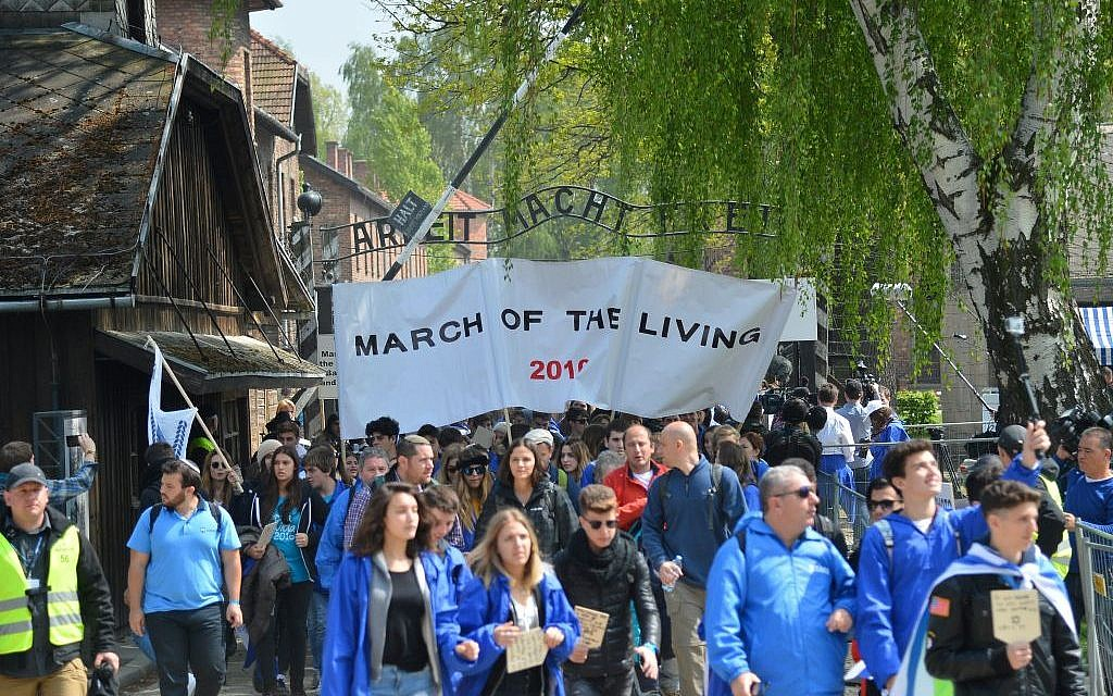 Young Jews from all over the world participate in the March of the Living ceremony at the Auschwitz death camp in Poland, as Israel marks annual Holocaust Memorial Day, on May 5, 2016. (Photo by Yossi Zeliger/FLASH90)