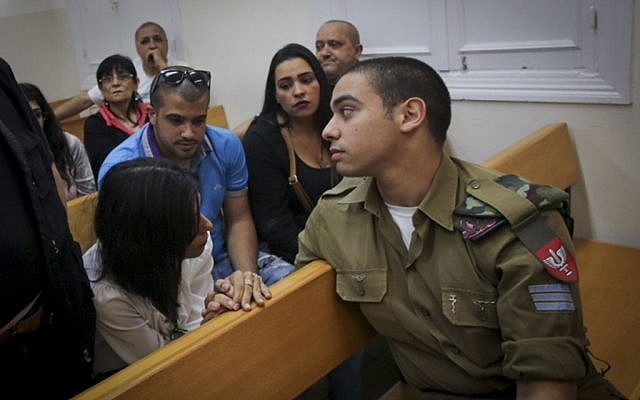 IDF Sgt. Elor Azaria, accused of killing a disarmed Palestinian attacker in Hebron, during a hearing at Jaffa Military Court, May 9, 2016. (Flash90)