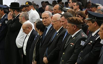 Israeli prime minister Benjamin Netanyahu and other leaders attend a Memorial Day ceremony in memory of Israel's fallen soldiers and terror victims, at Mount Herzl military cemetery, on May 11, 2016. (Gil Yohanan/POOL)