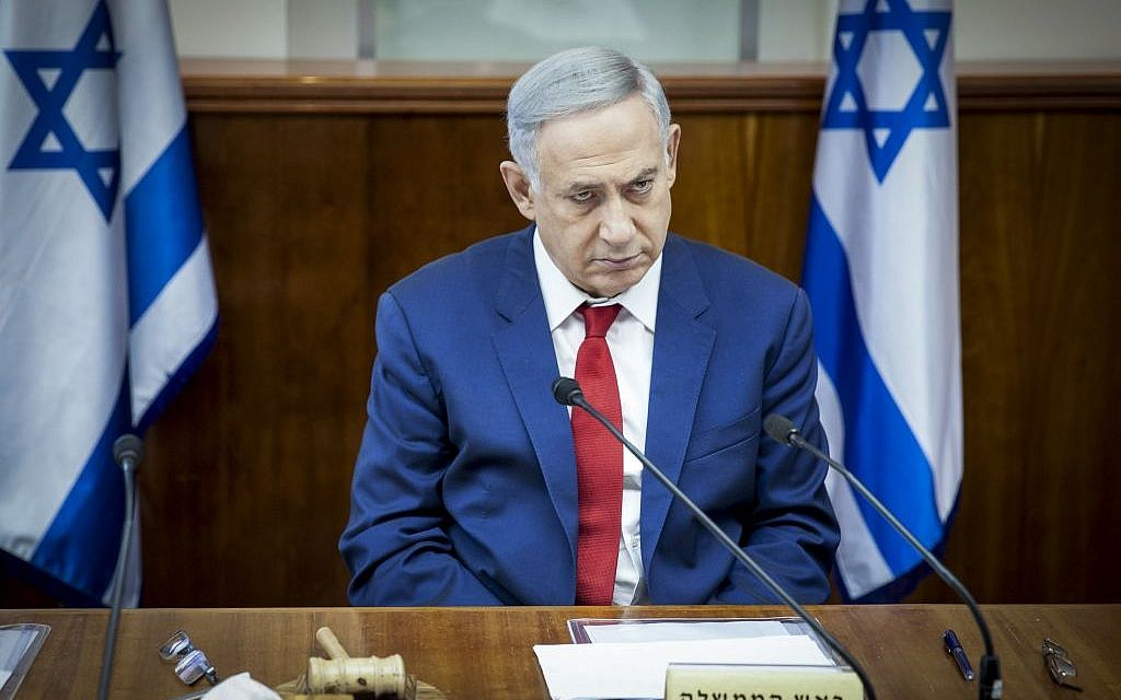 Prime Minister Benjamin Netanyahu leads the weekly cabinet meeting at his office in Jerusalem on May 15, 2016. (Photo by Emil Salman/Pool)
