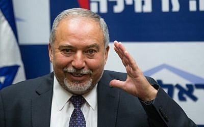 Leader of the Yisrael Beytenu party Avigdor Liberman speaks at a press conference in the Knesset, on May 18, 2016. (Yonatan Sindel/Flash90)