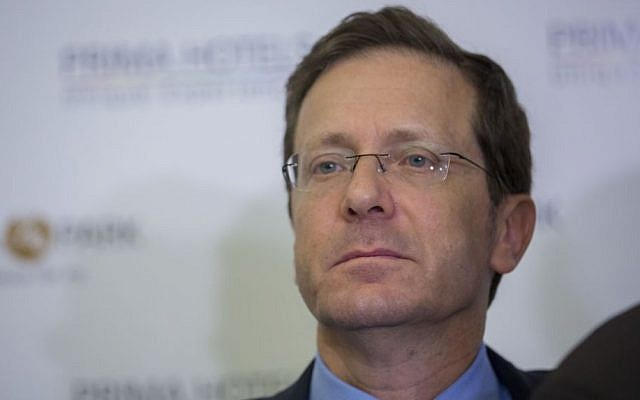 Leader of opposition Zionist Union MK Isaac Herzog responding to talks about a joint government during a press conference in Jerusalem, May 18, 2016. (Yonatan Sindel/Flash90)