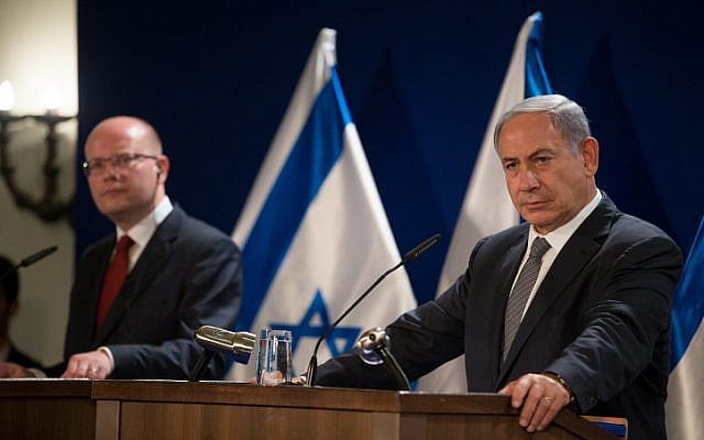 Prime Minister Benjamin Netanyahu speaks during a joint press conference with his Czech counterpart Bohuslav Sobotka at the King David hotel in Jerusalem on May 22, 2016 (Yonatan Sindel/Flash90)